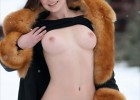 Brunette flashing in the snow
