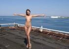 Happy girl enjoying nude a great day