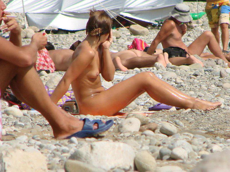 Rocky beach and nude girl
