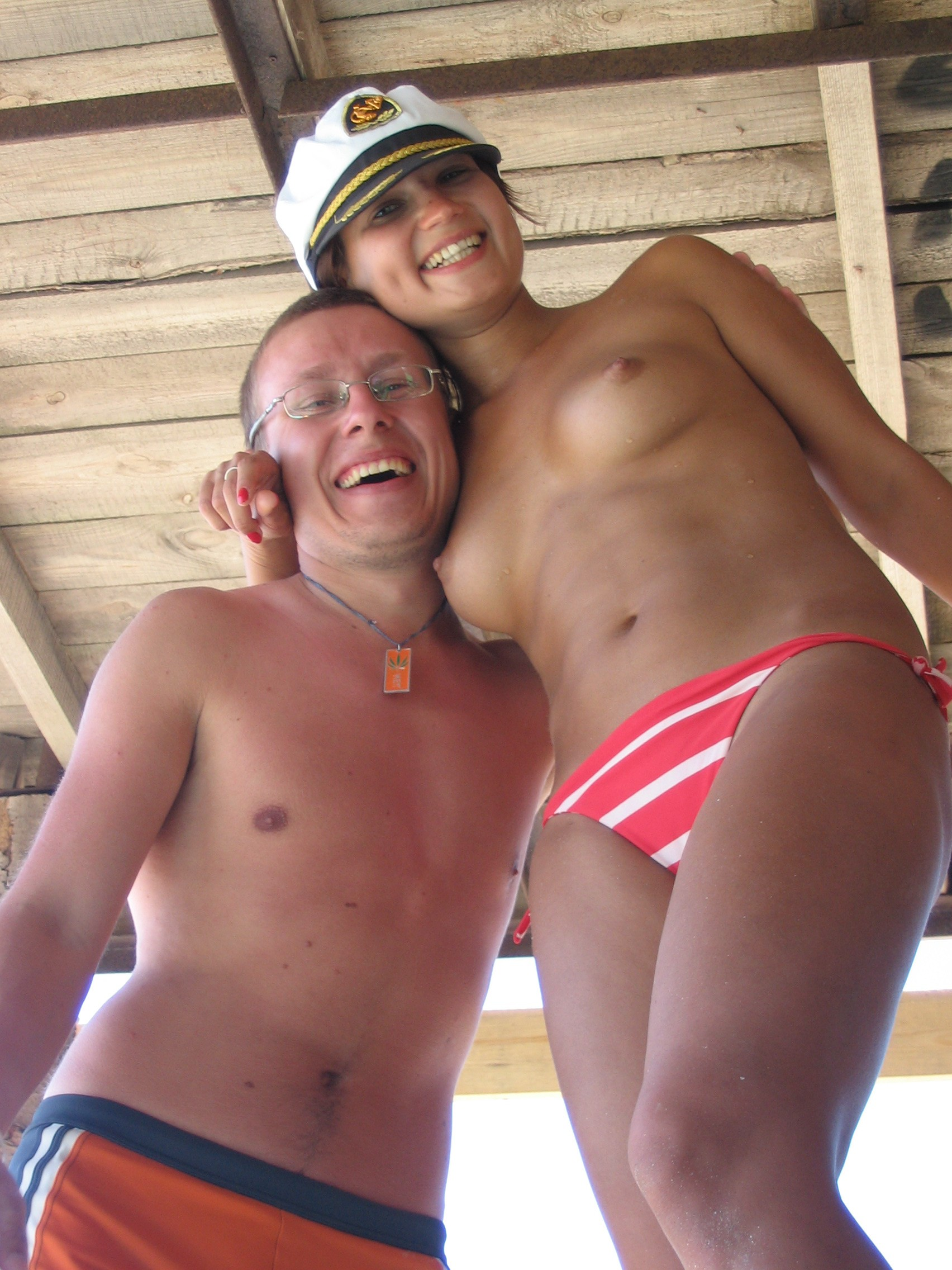 Woman plays captain with happy man