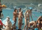 Group of friends enjoying the nude beach