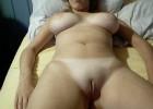 Amateur babe shows her freshly shaved cunt