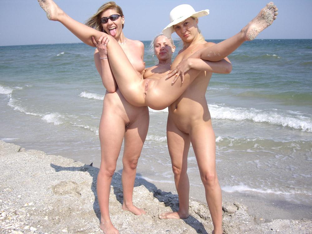Wild girls nude on the beach