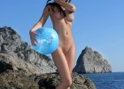 Nude hottie with her favorite beach ball