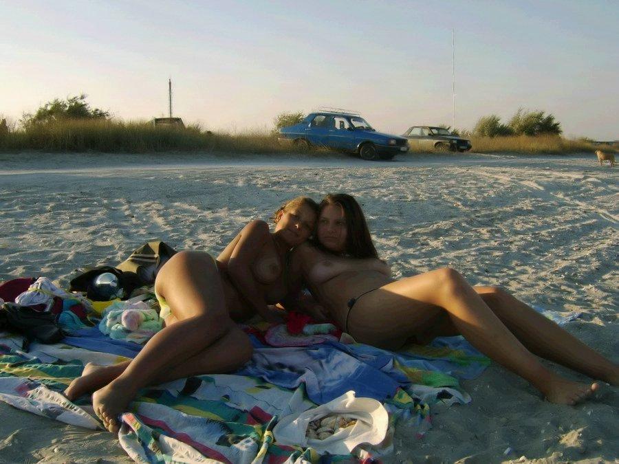 Wild topless girls on a lonely beach